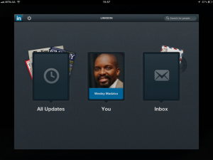 "<h3> LinkedIn iPad App. WeszMadz looks into it.</h3>    <a href=""http://wesley.co.za/newipadapp/"">After Log In</a>"