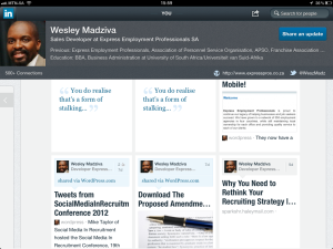 "<h3> LinkedIn iPad App. WeszMadz looks into it.</h3>    <a href=""http://wesley.co.za/newipadapp/"">photo3</a>"