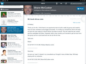 "<h3> LinkedIn iPad App. WeszMadz looks into it.</h3>    <a href=""http://wesley.co.za/newipadapp/"">photo9</a>"